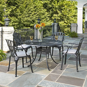 Largo Charcoal 5 Piece Dining Set with Cushions