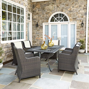 Largo Charcoal 7 Piece Dining Set with Riviera Chairs