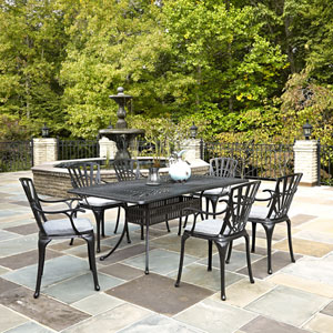 Largo Charcoal 7 Piece Dining Set with Cushions