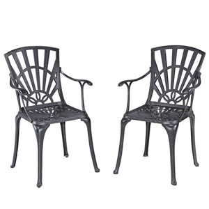 Largo Charcoal Dining Chair Pair with Cushions
