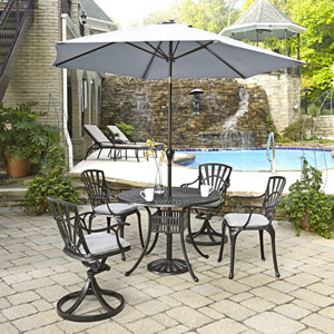 Largo Charcoal 5 Piece Dining Set with Umbrella and Cushions