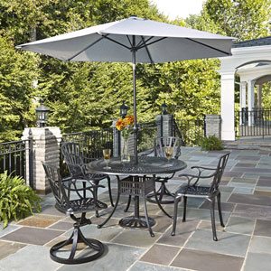 Largo Charcoal 5 Piece Dining Set with Umbrella