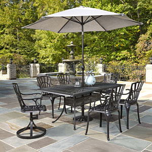 Largo Charcoal 7 Piece Dining Set with Umbrella