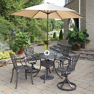 Largo Taupe 42-Inch 5-Piece Outdoor Dining Set with Umbrella