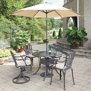 Largo Taupe 42-Inch 5-Piece Outdoor Dining Set with Umbrella and Cushions