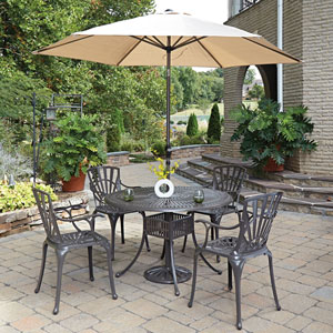 Largo Taupe 48.5-Inch 5-Piece Outdoor Dining Set with Umbrella