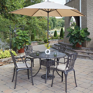Largo Taupe 48.5-Inch 5-Piece Outdoor Dining Set with Umbrella and Cushions