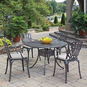 Largo Taupe 48.5-Inch 5-Piece Outdoor Dining Set with Cushions