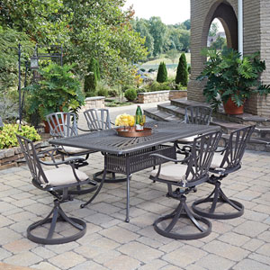Largo Taupe 71.75 x 42.25-Inch 7-Piece Outdoor Dining Set with Cushions