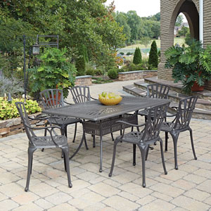 Largo Taupe 71.75 x 42.25-Inch 7-Piece Outdoor Dining Set