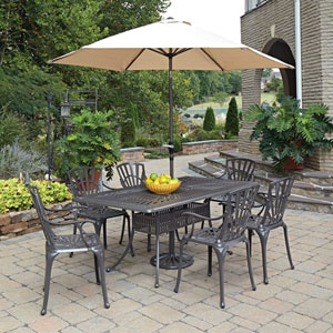 Largo Taupe 71.75 x 42.25-Inch 7-Piece Outdoor Dining Set with Umbrella