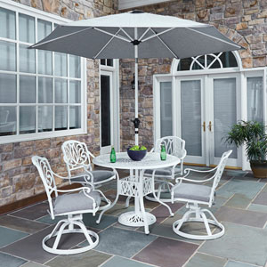Floral Blossom White 42.25-Inch 5-Piece Outdoor Dining Set with Umbrella