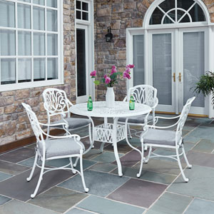 Floral Blossom White 42.25-Inch 5-Piece Outdoor Dining Set