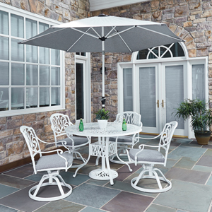 Floral Blossom White 48.25-Inch 5-Piece Outdoor Dining Set with Umbrella