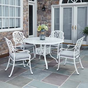 Floral Blossom White 48.25-Inch 5-Piece Outdoor Dining Set