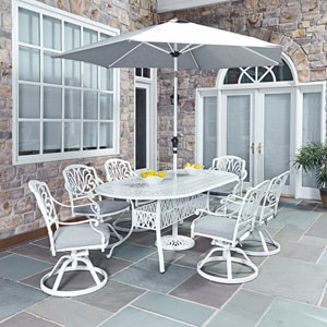 Floral Blossom White 84 x 42.25-Inch 7-Piece Outdoor Dining Set with Umbrella