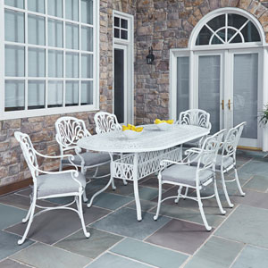 Floral Blossom White 84 x 42.25-Inch 7-Piece Outdoor Dining Set