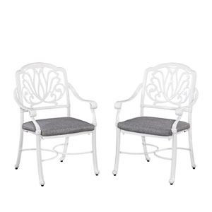 Floral Blossom White Outdoor Arm Chair with Cushion, Set of 2
