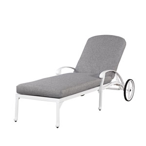 Floral Blossom White Outdoor Chaise Lounge Chair with Cushion