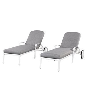 Floral Blossom White Outdoor Chaise Lounge Chair, Set of 2