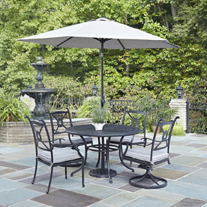 Athens Charcoal 48-Inch 5-Piece Outdoor Dining Set with Umbrella
