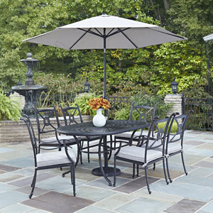 Athens Charcoal 71.25 x 41.5-Inch 7-Piece Outdoor Dining Set with Umbrella