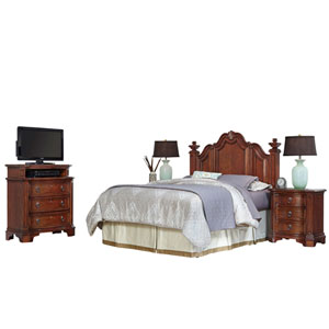 Santiago Cognac Queen/Full Headboard, Two Night Stands, and Media Chest