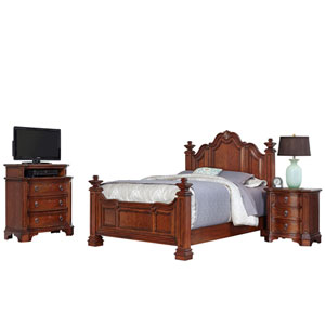 Santiago Cognac Queen Bed, Night Stand, and Media Chest