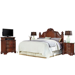 Santiago Cognac King/California King Headboard, Two Night Stands, and Media Chest