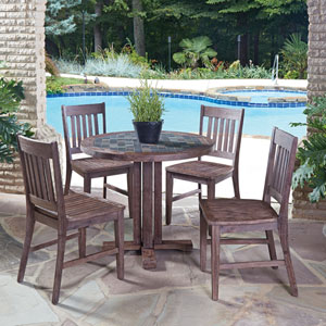 Morocco Slate 36-Inch 5-Piece Outdoor Dining Set
