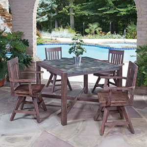 Morocco Slate 43.5-Inch 5-Piece Outdoor Dining Set