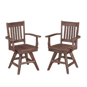 Morocco Wire Brushed Outdoor Swivel Chair, Set of 2