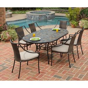 Stone Harbor 60-Inch Dining Table w/ Six Laguna Arm Chairs