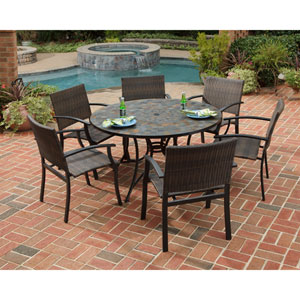 Stone Harbor 51-Inch Dining Table w/ Six Newport Arm Chairs