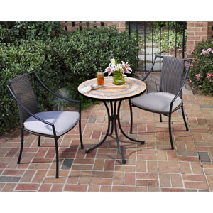 Terra Cotta Bistro Table and Two Laguna Slope Arm Chairs