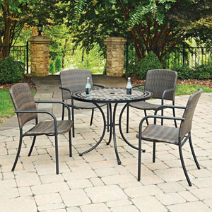Marble Top 5 Piece Round Outdoor Dining Table and 4 Chairs