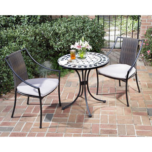 Marble Bistro Table and Two Laguna Slope Arm Chairs