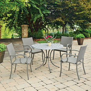 Capri Concrete Stenciled 5 Piece Round Outdoor Table and 4 Chairs