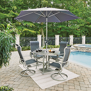South Beach 7 Piece Round Outdoor Dining Table with 4 Swivel Rocking Chairs and Umbrella with Base