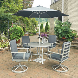 South Beach 7 Piece Round Outdoor Dining Table and 4 Swivel Rocking Chairs, with Umbrella and Base