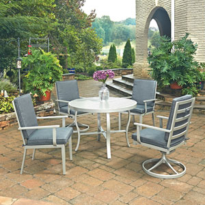 South Beach 5 Piece Round Outdoor Dining Table with 2 Swivel Rocking Chairs and 2 Arm Chairs