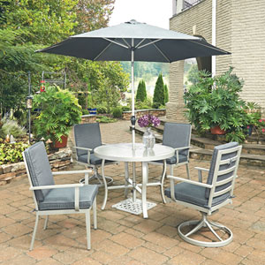 South Beach 7 Piece Round Outdoor Dining Table and 2 Swivel Rocking Chairs, 2 Chair Chairs