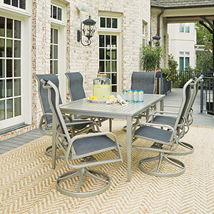 South Beach 7 Piece Rectangular Outdoor Dining Table and 6 Swivel Rocking Chairs