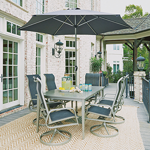 South Beach 9 Piece Rectangular Outdoor Dining Table with 6 Swivel Rocking Chairs and Umbrella with Base