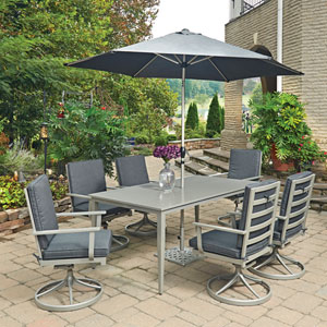 South Beach 9 Piece Rectangular Outdoor Dining Table; 6 Swivel Rocking Chairs with Umbrella and Base