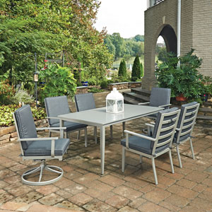 South Beach 7 Piece Rectangular Outdoor Dining Table with 4 Arm Chairs and 2 Swivel Rocking Chairs