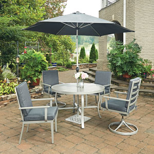 South Beach 7 Piece Round Outdoor Dining Table and 2 Swivel Rocking Chairs, 2 Arm Chairs