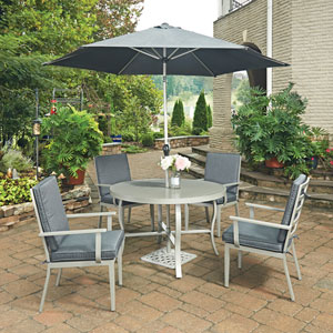 South Beach 7 Piece Round Outdoor Dining Table and 4 Chairs, with Umbrella and Base