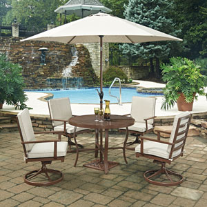 Key West 7 Piece Round Outdoor Dining Table and 4 Swivel Rocking Chairs, with Umbrella and Base