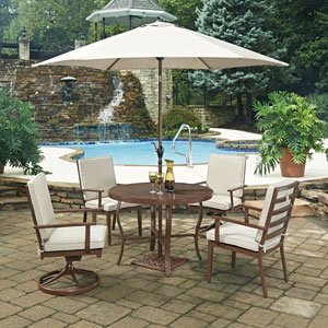 Key West 7 Piece Round Outdoor Dining Table And 2 Swivel Rocking Chairs, 2  Chair